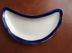 Kék-arany szegélyű kínáló vagy csontos tányér csehszlovák