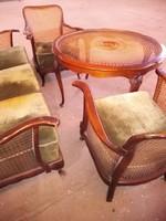Antik barok rattán 4 darabos ülőgarnitura