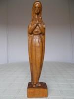 Gyönyörű, kecses, fából faragott Madonna szobor, 32 cm