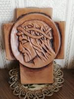 Kerámia kereszt feszület Jézus portré