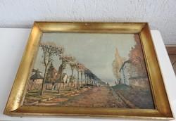 Alfred Sisley  - művészi nyomat képcsarnokos keretben : Le chemin de la Machine
