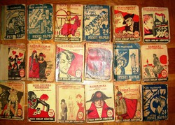 18 db régi ponyva Pesti Hírlap és Kék Könyvek sorozatból
