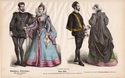Viselettörténet (9), litográfia 1880, öltözet, ruha, divat, német, francia, történelem, nemes, hölgy
