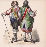 Viselettörténet (4), litográfia 1885, öltözet, ruha, uniformis, német, francia, történelem, katona