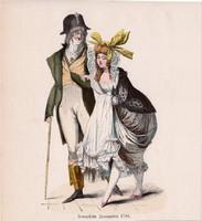 Viselettörténet (5), litográfia 1885, öltözet, ruha, divat, német, francia, történelem, 1794, XVIII.