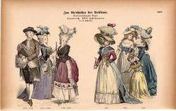 Viselettörténet (58), litográfia 1885, öltözet, ruha, divat, német, francia, történelem, 1778, 1787