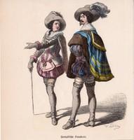 Viselettörténet (1), litográfia 1885, öltözet, ruha, uniformis, német, francia, történelem, katona