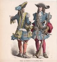 Viselettörténet (7), litográfia 1885, öltözet, ruha, uniformis, német, francia, történelem, katona
