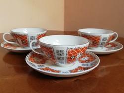 Antik lehellet vékony német porcelán kávés csészék aljakkal 3 db