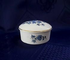 2865 - Kék virágos Boglár porcelán dobozka
