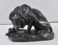 Anton Louise Barye (1795-1875): Oroszlán és kígyó küzdelme, bronz