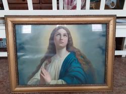 Antik Mária kép, blondel keretben eladó!