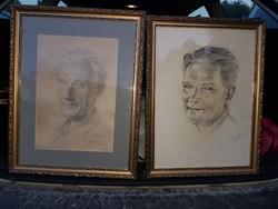 Emanuel Béla, két portré, szép keretben, kb.40x50