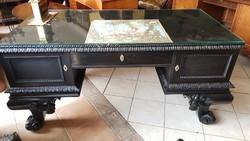 Antik nagypolgári íróasztal+ trónszék