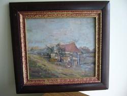49x46-34x30cm Parasztház szignozott festmény