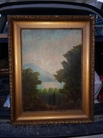 Szignós erdei festmény, szép keretben, kb.40x50+keret