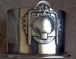Szecessziós stílusú ezüstözött kockacukortartó