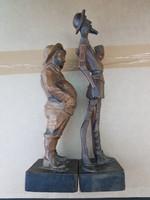 Don Quijote, és hűséges fegyverhordozója, 22-28 cm, keményfa