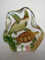 Üveg levélnehezék teknős pár