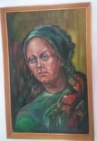 Egy parasztasszony arcképe - olaj / vászon festmény - nagyobb méret