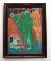Kondor Béla - Hárfázó angyal című festménye