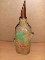 Fa hatású üveg palack Tokaj felirattal 26 cm (5/d)