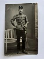 Régi fotó katona huszár képeslap fénykép