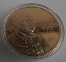 Nagy Magyarok / Semmelweis Ignác aranyozott Cu emlékékérem - érem