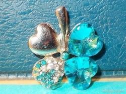 Akvamarin kék Szerencse - Szív - Lóhere Kristály Medál