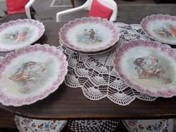 Szépséges bidermayer süteményes tányérok 12 darab