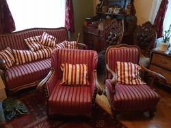 Felújított szalongarnitúra (kanapé + 2 fotel + asztal)