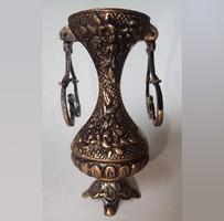 Régi, egyedi, kézzel készített, külön öntött, réz füles dísz váza kancsó