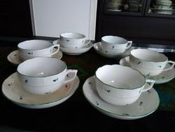 Ó-Herendi kávés készlet manófüllel, zöld szegéllyel!