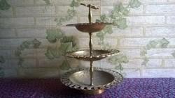 3 szintes réz asztalözép , kínáló
