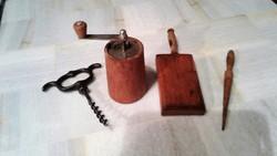 Régi, antik borsőrlő, csigatészta készítő és dugóhúzó
