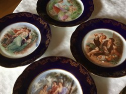Antik, festményes  tányérok, 17,5 cm