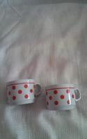 Zsolnay  piros pettyes ritka kávés csésze párban