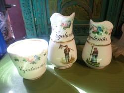 Tejes és tejszínes kancsó + 1 db kávés csésze , nagyon vastag porcelánból .