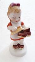 Royal Dux Elly Strobach porcelán kislány figura