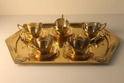 5 db Art Deco teácsszésze + alj, réz, Argentor