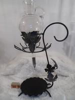 Fém - dekantáló - POHÁRTARTÓS - csiszolt üveg lopó - 50 x 28 x 14 cm - 1 l Osztrák - hibátlan