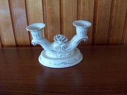 Barokk porcelán gyertyatartó 2 ágú hibátlan
