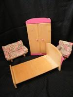 Fából készült retro bababútor hálószoba fotelekkel (Original Kuhn)