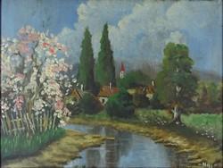 0Y197 Magyar festő XX. század : Falu tavasszal