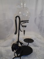 Bortartó kovácsoltvas  + csiszolt üveg lopó 53 x 26 x 23 cm - 1 l - gyertyatartós - Osztrák