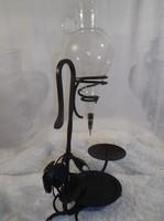 Fém  + csiszolt üveg lopó - dekantáló -  53 x 26 x 23 cm - 1 l - gyertyatartós - Osztrák - hibátlan
