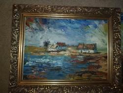 Szőke Zoltán, olaj, festőkés, farost, 55x43 cm, keret nélküli akció