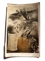 Régi képeslap II.vh. 1944 repülőgép ejtőernyős katona kép