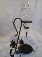 Bortartó Kovácsoltvas + csiszolt üveg lopó - Osztrák kézműves - 48 x 26 x 16 cm 1 liter