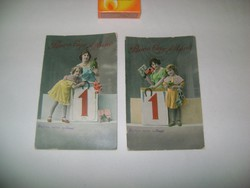 Régi, színes újévi képeslap - két darab - íratlan